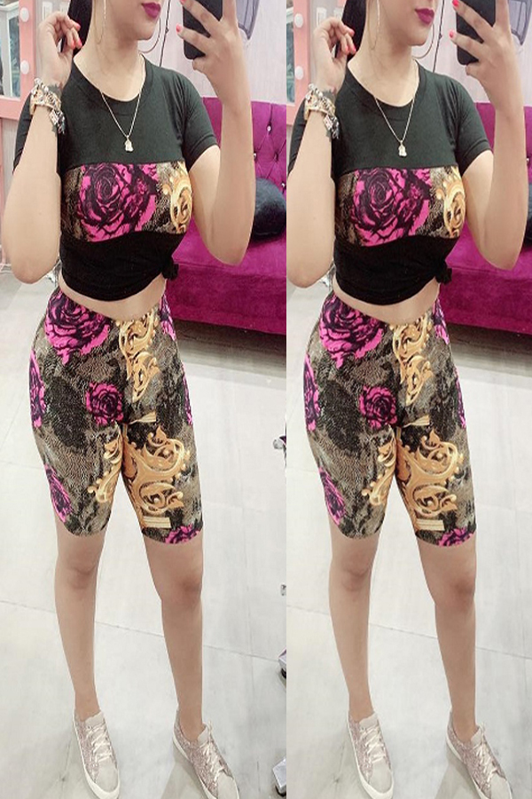 Lovely Casual Floral Printed Black Two-piece Shorts Set