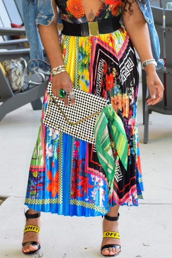 Lovely Trendy Ruffle Printed Ankle Length Skirt