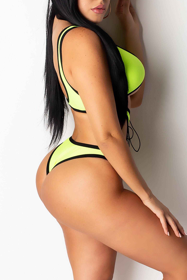 Lovely Hollow-out Yellow One-piece Swimwear