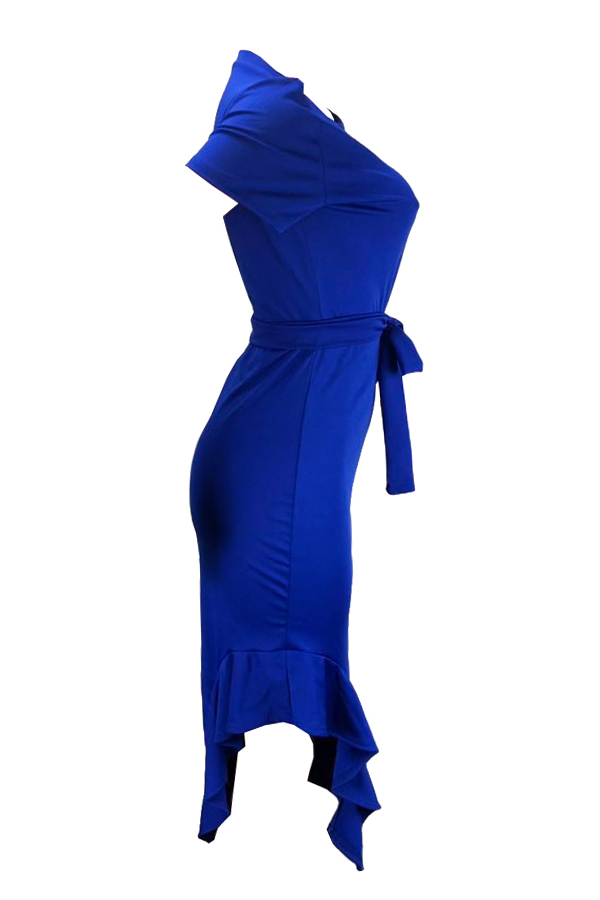 Lovely Work O Neck Ruffle Design Blue Mid Calf Dress