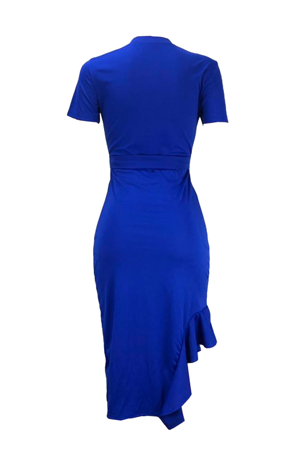 Lovely Work O Neck Ruffle Design Blue Mid Calf Dress