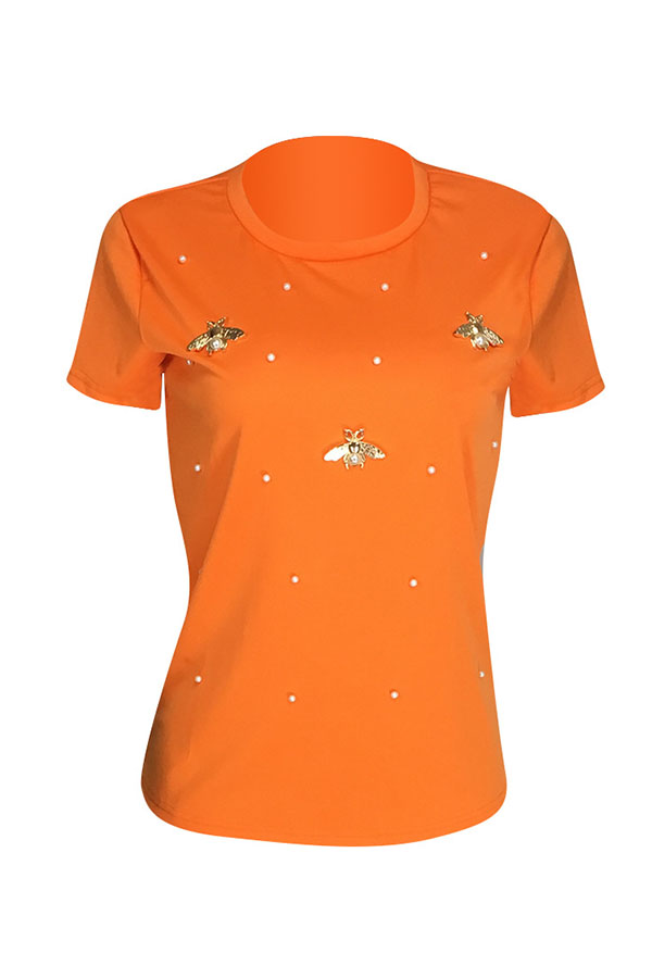 Lovely Leisure Pearls Decoration Orange T-shirt