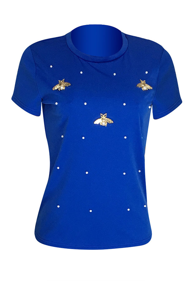 Lovely Leisure Pearls Decoration Royalblue T-shirt