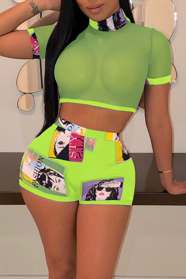 Lovely Sexy Printed See-through Green Two-piece Shorts Set
