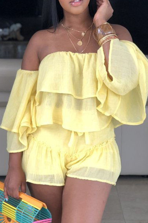 Lovely Sweet Off The Shoulder Ruffle Design Yellow Two-piece Shorts Set