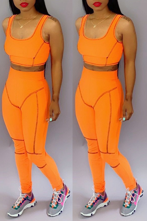 Lovely Casual U Neck Patchwork Orange Two-piece Pants Set