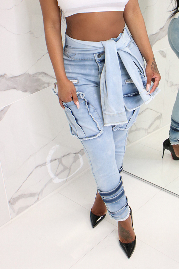 Lovely Stylish High Waist Lace-up Blue Jeans