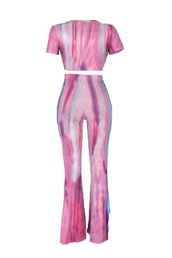 Lovely Casual V Neck Striped Printed Light Pink Two-piece Pants Set
