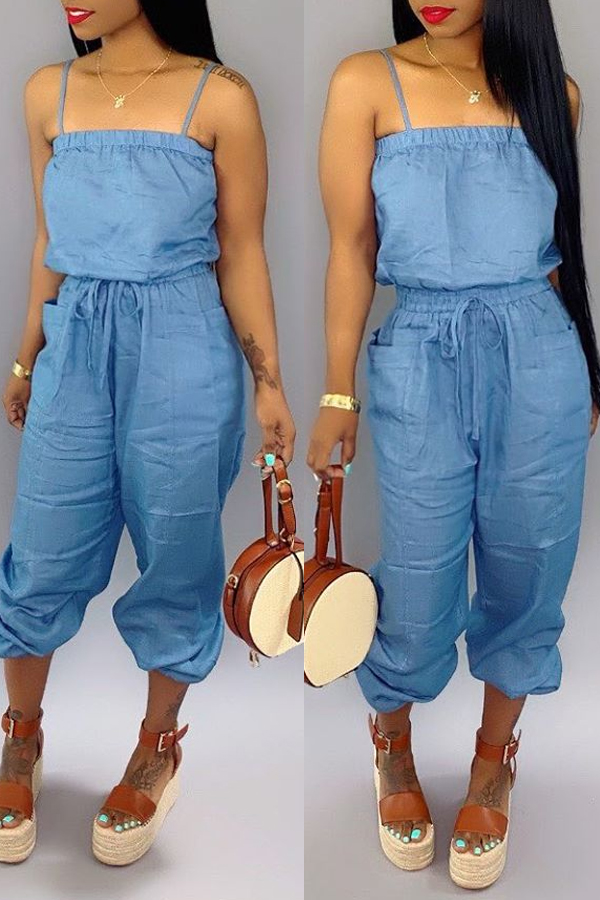Lovely Casual Spaghetti Straps Blue One-piece Jumpsuit