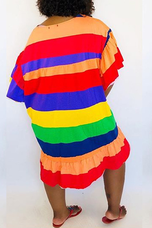 Lovely Casual O Neck Multicolor Striped Knee Length Dress