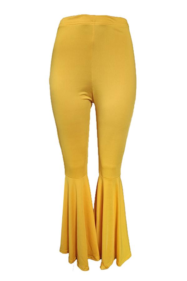 Lovely Stylish High Waist Yellow Horn-type Pants