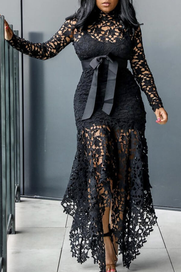 Lovely Sexy Lace Patchwork Asymmetrical Black Ankle Length Dress