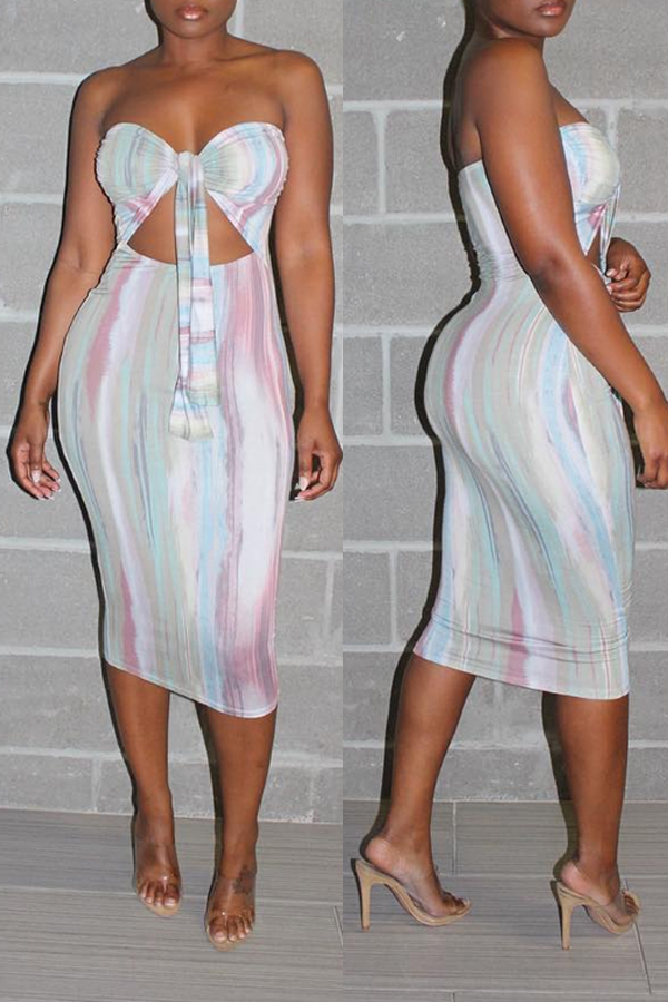 Lovely Sexy Off The Shoulder Printed Hollow-out Multicolor Mid Calf A Line Dress