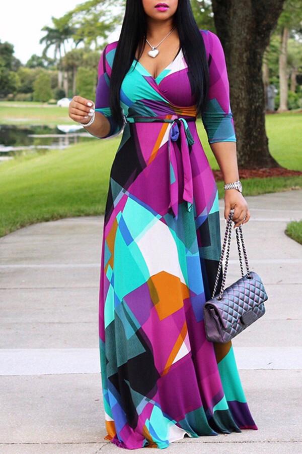 Lovely Sweet V Neck Color Block Patchwork Multicolor Floor Length Dress