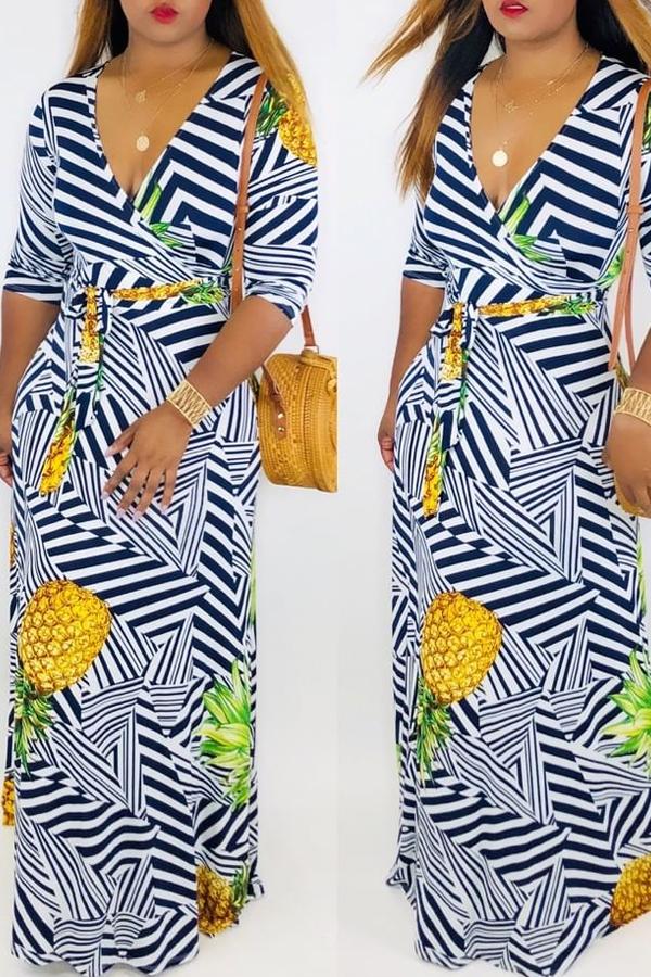 Lovely Trendy V Neck Pineapple Printed White Floor Length Dress