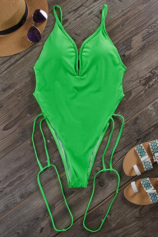 Lovely Deep V Neck Green One-piece Swimwear