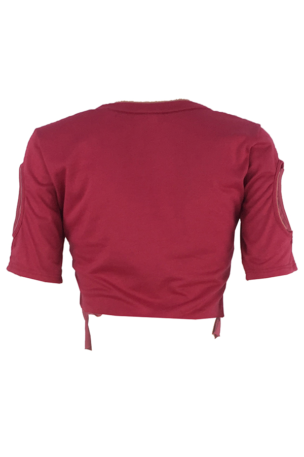 Lovely Casual O Neck Hollow-out Wine Red T-shirt