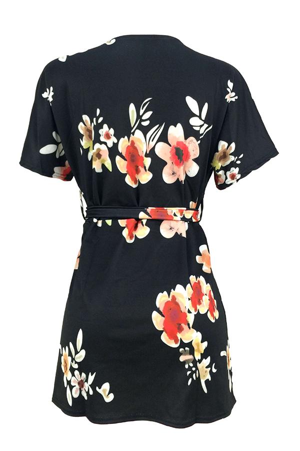 Lovely Casual Floral Printed Side Slit Black Mini Dress