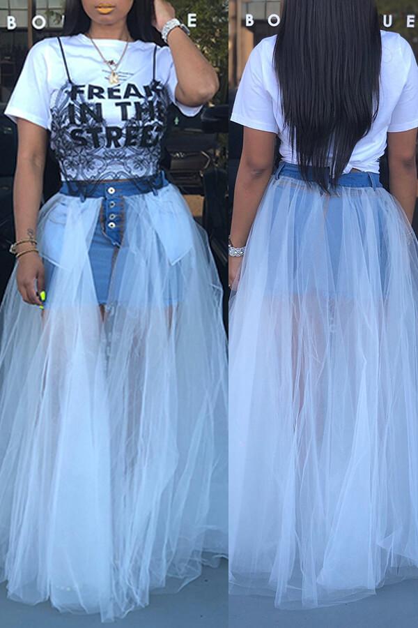 Lovely Stylish Gauze Patchwork White Denim Floor Length A Line Skirt