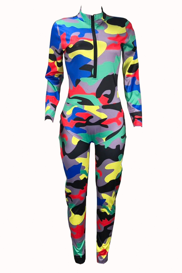 Lovely Stylish Camouflage Printed Multicolor One-piece Jumpsuit