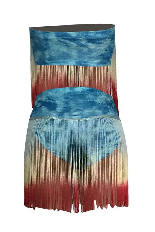 Lovely Tassel Design Baby Blue Two-piece Swimwear