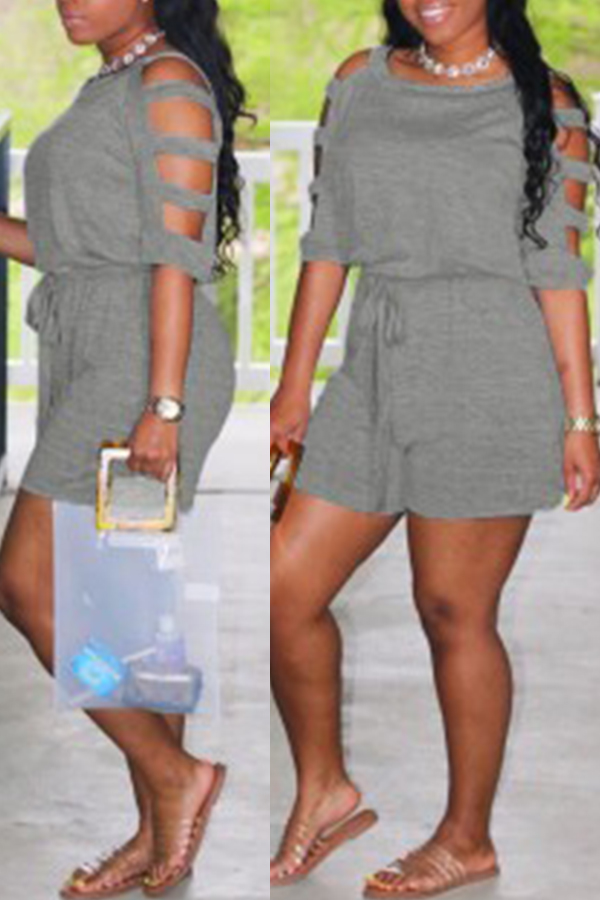Lovely Casual Hollow-out Grey Loose One-piece Romper