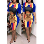 Lovely Casual Printed Royal Blue Knee Length Dress