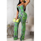 Lovely Sexy Snakeskin Pattern Printed Green One-pi