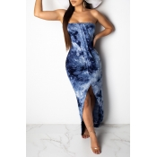 Lovely Trendy Off The Shoulder Printed Blue Ankle