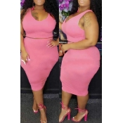 Lovely Casual O Neck Sleeveless Light Pink Two-piece Skirt Set