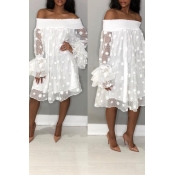 Lovely Stylish Off The Shoulder Horn Sleeve White