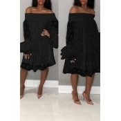 Lovely Stylish Off The Shoulder Horn Sleeve Black Knee Length Dress