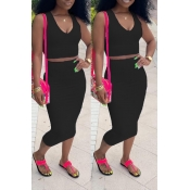 Lovely Casual V Neck Sleeveless Black Two-piece Skirt Set