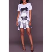 Lovely Leisure Short Sleeve Printed White Mini Dre