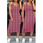 Lovely Casual U Neck Sleeveless Printed Pink Mid C
