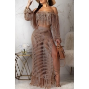 Lovely Sexy Hollow-out Tassel Design Khaki Two-piece Skirt Set(Without Lining)