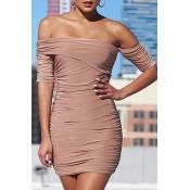 Lovely Stylish Off The Shoulder Khaki Mini Dress