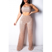 Lovely Sexy Off The Shoulder High Waist Gold Two-p