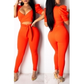 Lovely Casual V Neck Hollow-out Orange Two-piece Pants Set