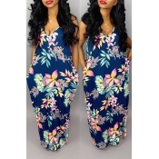Lovely Stylish Printed Backless Dark Blue Floor Length Dress
