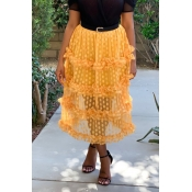Lovely Chic Dot Printed Patchwork Yellow Mid Calf