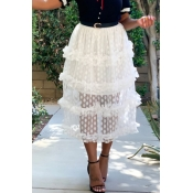 Lovely Chic Dot Printed Patchwork White Mid Calf Skirts