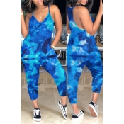 Lovely Casual Tie-dye Blue Loose One-piece Jumpsuit