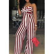 Lovely Trendy Spaghetti Straps Striped Hollow-out