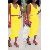 Lovely Casual V Neck Sleeveless Yellow Two-piece Skirt Set