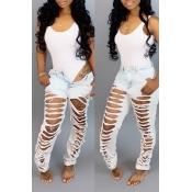 Schöne Lässige Jeans Mit Gebrochenen Löchern