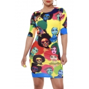 Lovely Casual O Neck Printed Mini Dress