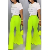 Lovely Stylish High Waist Green Horn-type Pants