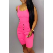 Lovely Casual Buttons Design Rose Red One-piece Romper