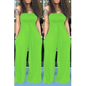 Lovely Casual Off The Shoulder Green One-piece Jumpsuit